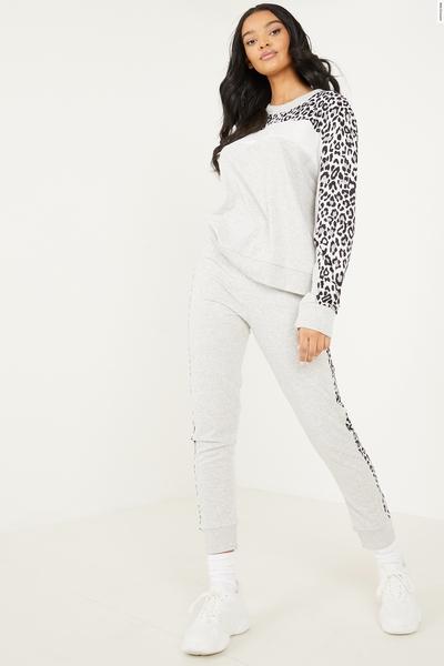 Grey Leopard Print Stripe Trousers